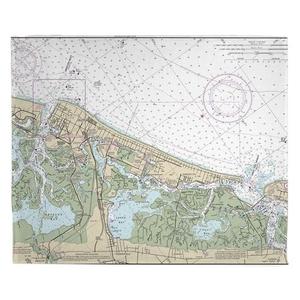 Atlantic City, NJ Nautical Chart Fleece Throw Blanket