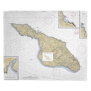 Santa Catalina Island, CA Nautical Chart Fleece Throw Blanket