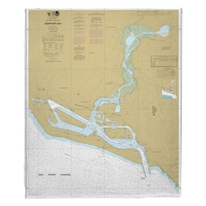 Newport Bay, CA Nautical Chart Fleece Throw Blanket