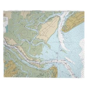 Daufuskie Island, Turtle Island, Jones Island, SC Nautical Chart Fleece Throw Blanket