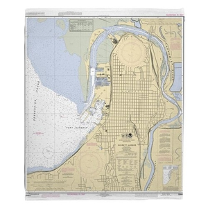 Everett, WA Nautical Chart Fleece Throw Blanket