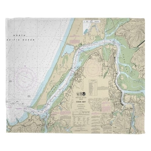 Coos Bay, OR Nautical Chart Fleece Throw Blanket