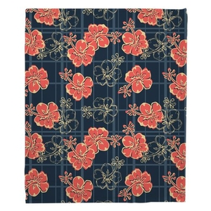 Hibiscus Plaid Fleece Throw Blanket