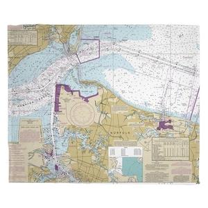 Norfolk, VA Nautical Chart Fleece Throw Blanket