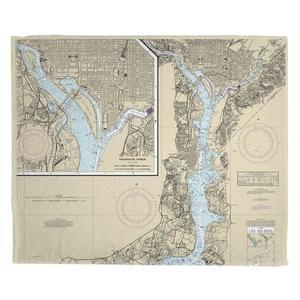 Washington Harbor, DC Nautical Chart Fleece Throw Blanket