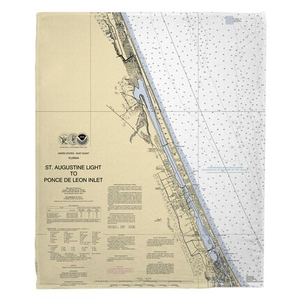 Ormond Beach, Daytona Beach, FL Nautical Chart Fleece Throw Blanket