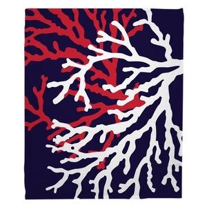 Coral Duo on Navy Fleece Throw Blanket