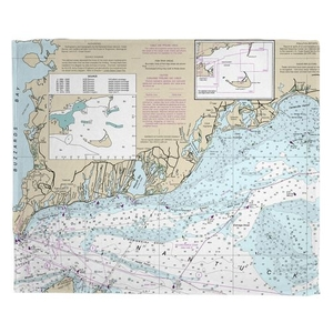 Falmouth, MA Nautical Chart Fleece Throw Blanket