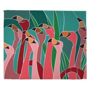 Flamingo Walk Fleece Throw Blanket