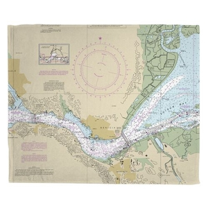 Benicia, CA Nautical Chart Fleece Throw Blanket