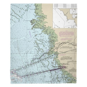Yankeetown, FL Nautical Chart Fleece Throw Blanket