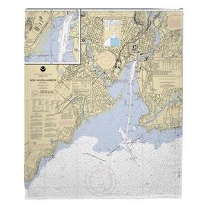 New Haven Harbor, CT Nautical Chart Fleece Throw Blanket