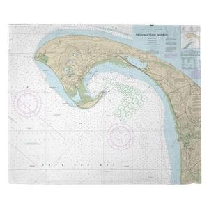Provincetown, MA Nautical Chart Fleece Throw Blanket