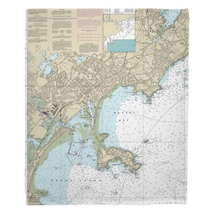 Lynn, Nahant, MA Nautical Chart Fleece Throw Blanket