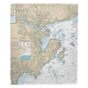 Marblehead, Salem, MA Nautical Chart Fleece Throw Blanket