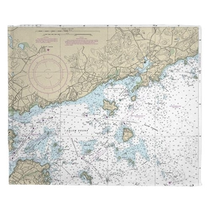 Manchester, MA Nautical Chart Fleece Throw Blanket