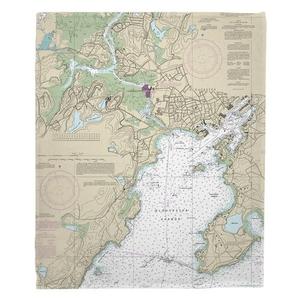 Gloucester Harbor, MA Nautical Chart Blanket