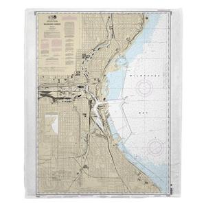 Milwaukee Harbor, WI Nautical Chart Fleece Throw Blanket