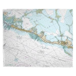 Islamorada, FL (Close Up) Nautical Chart Fleece Throw Blanket