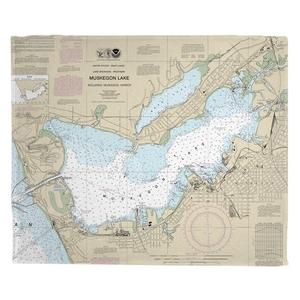 Muskegon, MI Nautical Chart Fleece Throw Blanket