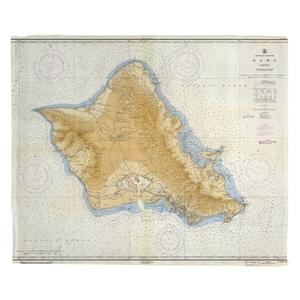 Oahu, HI, C. 1959 Vintage Nautical Chart Fleece Throw Blanket