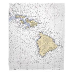 Hawaiian Southern Islands Nautical Chart Fleece Throw Blanket