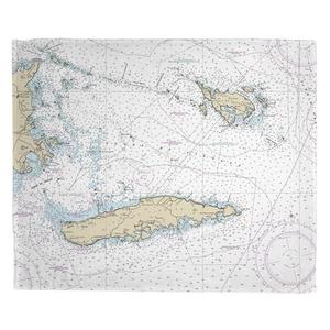 Vieques, Culebra, PR Nautical Chart Fleece Throw Blanket