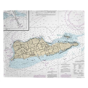 St. Croix, USVI Nautical Chart Throw Blanket
