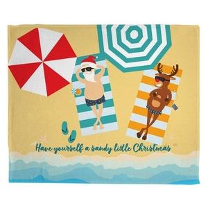 Beach Santa and Reindeer Christmas Fleece Throw Blanket
