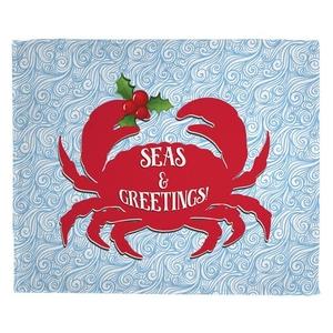 Seas and Greetings Crab Christmas Fleece Throw Blanket