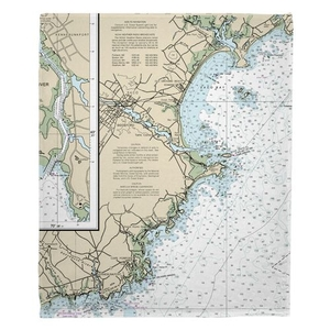 Biddeford, ME Nautical Chart Fleece Throw Blanket