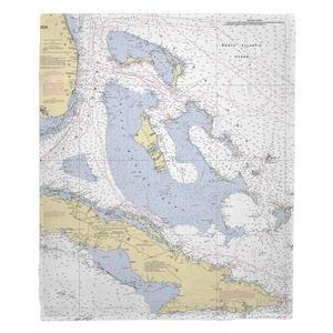 Bahama Islands Nautical Chart Fleece Throw Blanket