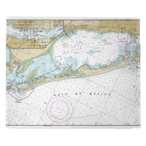 Longboat Key, FL Nautical Chart Fleece Throw Blanket