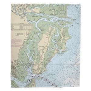 St. Simons Island & Sea Island, GA Nautical Chart Fleece Throw Blanket