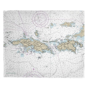 St. Thomas, St. John, USVI Nautical Chart Throw Blanket