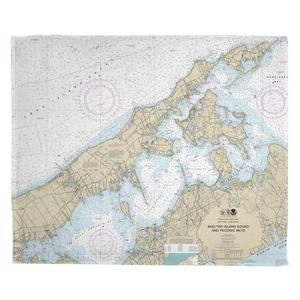 Shelter Island Sound and Peconic Bays, NY Nautical Chart Fleece Throw Blanket