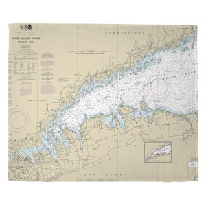 Long Island Sound (WESTERN), NY Nautical Chart Throw Blanket