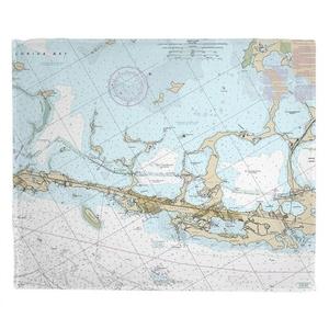 Key Largo, FL (Close Up) Nautical Chart Fleece Throw Blanket