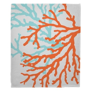 Coral Duo Fleece Throw Blanket