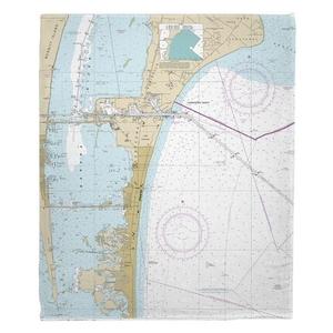 Cape Canaveral, Cocoa Beach, FL Nautical Chart Fleece Throw Blanket