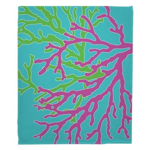 Coral Duo Pink & Green on Blue Fleece Throw Blanket