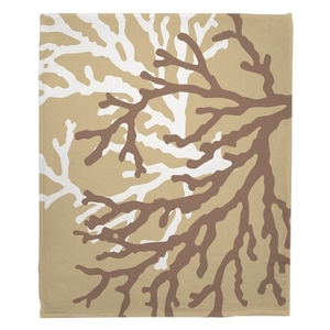 Coral Duo on Beach Sand Brown Fleece Throw Blanket