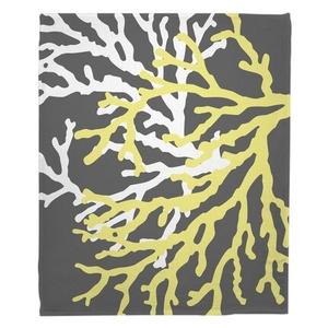 Coral Duo on Gray Fleece Throw Blanket