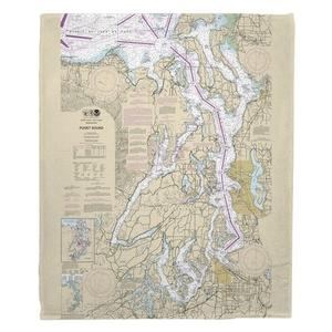 Puget Sound, WA Nautical Chart Fleece Throw Blanket