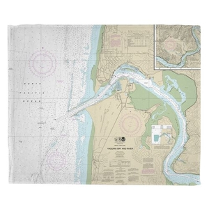 Yaquina Bay and River, OR Nautical Chart Fleece Throw Blanket