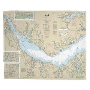 Neuse River, Upper Bay River, NC Nautical Chart Fleece Throw Blanket