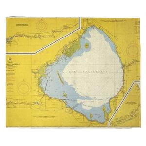 Lake Okeechobee, FL C. 1958 Vintage Nautical Chart Fleece Throw Blanket