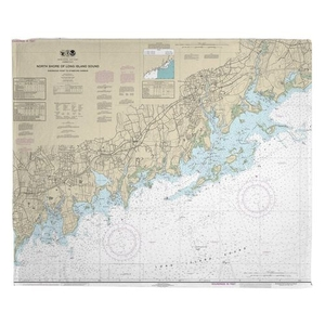 North Shore of Long Island Sound, Stamford, Norwalk, CT Nautical Chart Fleece Throw Blanket