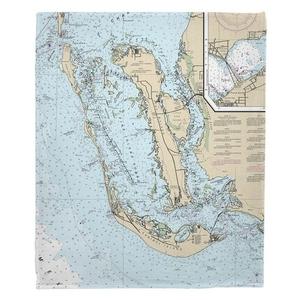 Pine Island, Cayo Costa, Sanibel Island, FL Nautical Chart Fleece Throw Blanket