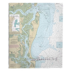 Cumberland Island, GA Nautical Chart Fleece Throw Blanket